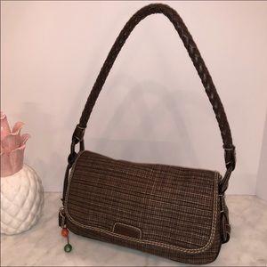 Fossil Vintage Brown Tweed & Braided purse